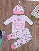 זול סטים של ביגוד לתינוקות-סט של בגדים כותנה קצר שרוול ארוך דפוס פעיל / בסיסי בנות תִינוֹק / פעוטות