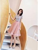 ราคาถูก Special Occasion Dresses-A-line อัญมณี สั้น / มินิ ออแกนซ่า / เลื่อม แต่งตัว กับ ริบบิ้น โดย LAN TING Express