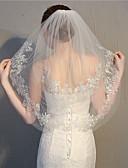 ราคาถูก ม่านสำหรับงานแต่งงาน-Two-tier Stylish / งานผ้าขอบลายลูกไม้ ผ้าคลุมหน้าชุดแต่งงาน Elbow Veils กับ เข็มกลัด 27.56 นิ้ว (70ซม.) ลูกไม้ / Tulle