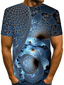 ราคาถูก เสื้อเชิ้ตผู้ชาย-สำหรับผู้ชาย เสื้อเชิร์ต Street Chic / ที่พูดเกินจริง คลับ ลายพิมพ์ คอกลม ลายบล็อคสี / 3D / กราฟฟิค สีน้ำเงินกรมท่า / แขนสั้น