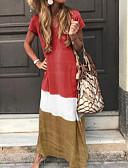 baratos Vestidos Longos-Mulheres Túnicas Vestido Estampa Colorida Decote V Longo