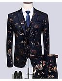 billige T-skjorter og singleter til herrer-Herre Store størrelser drakter, Geometrisk Skjortekrage Polyester Svart / Tynn