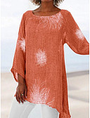 baratos Camisas Femininas-Mulheres Tamanhos Grandes Camiseta Geométrica Solto Vermelho