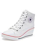 ราคาถูก เสื้อฮู้ดและเสื้อกันหนาวสเว็ตเชิ้ตผู้หญิง-สำหรับผู้หญิง รองเท้าผ้าใบ Light Soles รองเท้าส้นตึก ปลายกลม ผ้าใบ ไม่เป็นทางการ / minimalism ฤดูร้อนฤดูใบไม้ผลิ สีดำ / ขาว / สีน้ำเงินกรมท่า