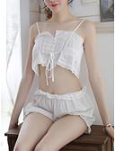 Χαμηλού Κόστους Κιλότες-Γυναικεία Με κοψίματα Sexy Ασορτί Εσώρουχα / Σετ Εσώρουχα Πυτζάμες Μονόχρωμο Λευκό L XL XXL / Τιράντες
