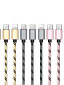 זול כבל & מטענים iPhone-טעינה מהירה 1 עד 3 מיקרו USB USB / ברק / סוג כבל C 1.3m (4.3ft) כבל USB אלומיניום עבור iPhone סמסונג huawei xiaomi וכו '