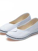 זול שעונים מכאניים-בגדי ריקוד נשים נעליים ללא שרוכים עקב טריז בוהן עגולה קנבס יום יומי קיץ לבן / שחור