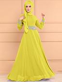 baratos Vestidos Casuais-Mulheres Básico Abaya Vestido - Com Cordão, Geométrica Longo