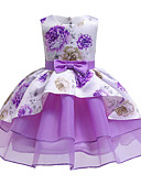 זול שמלות לבנות-שמלה עד הברך ללא שרוולים פפיון / דפוס פרחוני בסיסי / סגנון חמוד בנות ילדים / פעוטות / כותנה