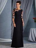 baratos Vestidos Estampados-Linha A Decorado com Bijuteria Longo Renda Transparente / Elegante Evento Formal Vestido 2020 com