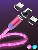 זול כבל & מטענים iPhone-הזרימה המגנטית הזוהר הוביל אור מטען USB כבל עבור iPhone xs מקסימום מיקרו סוג C תשלום a50 a70 כבל p30 כבל מהיר מגנט