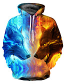 baratos Abrigos e Moletons Masculinos-Homens Solto Básico Jacket Hoodie 3D Com Capuz