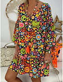 olcso Női ruhák-Női Pamut Bő Korcsolyázószoknya Ruha Térdig érő V-alakú