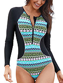 ราคาถูก สูท-Delamon สำหรับผู้หญิง ชุดว่ายน้ำ Elastane Bodysuit แห้งเร็ว แขนยาว ซิปรูดด้านหน้า - การว่ายน้ำ การดำน้ำ Surfing การทาสี ฤดูใบไม้ร่วง ฤดูใบไม้ผลิ ฤดูร้อน / ยืด