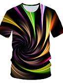 billige T-skjorter og singleter til herrer-Rund hals EU / USA størrelse T-skjorte Herre - Fargeblokk / 3D, Trykt mønster Gatemote / overdrevet Klubb Regnbue / Kortermet