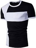 Χαμηλού Κόστους Ανδρικά μπλουζάκια και φανελάκια-Ανδρικά T-shirt Συνδυασμός Χρωμάτων Στρογγυλή Λαιμόκοψη Λευκό / Κοντομάνικο
