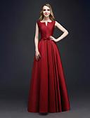 Χαμηλού Κόστους Βραδινά Φορέματα-Γραμμή Α Λαιμόκοψη V Μακρύ Σατέν Κομψό / Μινιμαλιστική Επίσημο Βραδινό Φόρεμα 2020 με