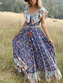 ราคาถูก เดรสพลัสไซซ์-สำหรับผู้หญิง สง่างาม สวิง แต่งตัว - ลายพิมพ์, ลายดอกไม้ ขนาดใหญ่