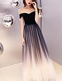 ราคาถูก Special Occasion Dresses-A-line ไหล่ตก ลากพื้น ซาติน / Tulle / กำมะหยี่ Prom แต่งตัว กับ ปักลายปัก โดย LAN TING Express
