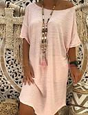 billige Uformelle kjoler-kvinners knelengde t-skjorte khaki-rødme rosa gul s m l xl