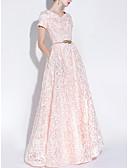 Χαμηλού Κόστους Φορέματα Παρανύμφων-Γραμμή Α Χαμόγελο Μακρύ Δαντέλα Φανταχτερό Επίσημο Βραδινό / Αργίες Φόρεμα 2020 με Ζώνη / Κορδέλα