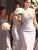 ราคาถูก Special Occasion Dresses-ทรัมเป็ต / เมอร์เมด สายสปาเกตตี้ ลากพื้น เจอร์ซี่ เพื่อนเจ้าสาวชุด กับ เข็มกลัด / ลูกไม้ / ริบบิ้น โดย JUDY&JULIA