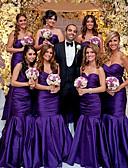 Χαμηλού Κόστους Φορέματα Παρανύμφων-Τρομπέτα / Γοργόνα Καρδιά Μακρύ Ταφτάς Φόρεμα Παρανύμφων με Πλισέ / Ανοικτή Πλάτη