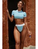 זול ביקיני ובגדי ים-פול S M L גב חשוף עם רצועות איקס אחיד קולור בלוק, בגדי ים טנקיני חוטיני מותן גבוה פול צהוב ספורטיבי בסיסי בגדי ריקוד נשים