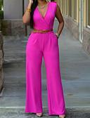 ราคาถูก จั๊มสูทและเสื้อคลุมสำหรับผู้หญิง-สำหรับผู้หญิง ทุกวัน คอวี สีดำ สีฟ้า ขาว ขากว้าง ชุด Jumpsuits Onesie, สีพื้น S M L เสื้อไม่มีแขน