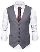ราคาถูก เบลเซอร์ &สูทผู้ชาย-สำหรับผู้ชาย เสื้อกั๊ก, สีพื้น คอวี เส้นใยสังเคราะห์ สีดำ / สีเทา
