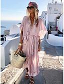 זול שמלות מיני-ורד מאובק צווארון V V עמוק מידי שרוכים לכל האורך, אחיד - שמלה סווינג משוחרר בוהו בגדי ריקוד נשים
