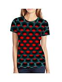 Χαμηλού Κόστους T-shirt-Γυναικεία Μεγάλα Μεγέθη T-shirt Γεωμετρικό / 3D / Γραφική Στάμπα Ρουμπίνι