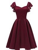 Χαμηλού Κόστους Φορέματα Παρανύμφων-Γραμμή Α Τετράγωνη Λαιμόκοψη Μέχρι το γόνατο Ζέρσεϊ Φόρεμα Παρανύμφων με Δαντέλα