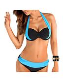ราคาถูก ชุดว่ายน้ำและบิกินีผู้หญิง-สำหรับผู้หญิง สีเทา สีฟ้า สีน้ำเงินกรมท่า tankini ชุดว่ายน้ำ - ลายบล็อคสี XL XXL XXXL สีเทา