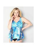 זול בגדי ים במידות גדולות-פול XXL XXXL XXXXL דפוס גיאומטרי, בגדי ים טנקיני חצאית נועזת פול בסיסי בגדי ריקוד נשים