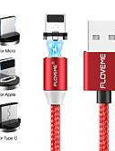 זול מטען כבלים ומתאמים-floveme 2m / 6.5ft / 1 עד 3 iPhone מיקרו סוג- c כבל מגנטי כבל USB קלועה עם מחוון LED עבור iPhone / Samsung / huawei / xiaomi / sony / htc / מוטורול