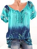 ราคาถูก เสื้อเอวลอยสำหรับผู้หญิง-สำหรับผู้หญิง ขนาดพิเศษ เสื้อเชิร์ต พื้นฐาน คอวี หลวม ลายดอกไม้ สีบานเย็น