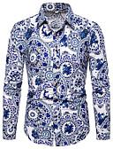 זול חולצות לגברים-פרחוני / גראפי / שבטי צווארון קלאסי מוּגזָם מועדונים / חוף חולצה - בגדי ריקוד גברים דפוס לבן / שרוול ארוך