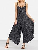 ราคาถูก จั๊มสูทและเสื้อคลุมสำหรับผู้หญิง-สำหรับผู้หญิง พื้นฐาน / โบโฮ สาย สีดำ ขากว้าง เพรียวบาง ชุด Jumpsuits Onesie, ลายแถบ S M L