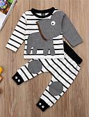 billige Baby Gutter topper-Baby Gutt Aktiv / Grunnleggende Stripet / Trykt mønster Langermet Kort Tøysett Hvit
