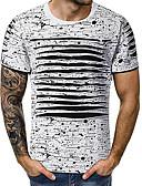 Χαμηλού Κόστους Ανδρικά μπλουζάκια και φανελάκια-Ανδρικά T-shirt Βαμβάκι / Λινό Γεωμετρικό Στρογγυλή Λαιμόκοψη Γκρίζο / Κοντομάνικο