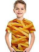 billige Topper til gutter-Barn Baby Gutt Aktiv Grunnleggende Geometrisk Trykt mønster 3D Trykt mønster Kortermet T-skjorte Gul
