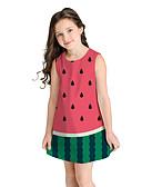 זול שמלות לבנות-שמלה מעל הברך שרוולים קצרים פירות מתוק / סגנון חמוד בנות ילדים / כותנה