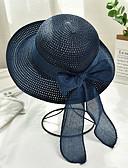 ราคาถูก หมวกสตรี-สำหรับผู้หญิง ลายบล็อคสี Straw ซึ่งทำงานอยู่ พื้นฐาน สไตล์น่ารัก-หมวกสาน ดวงอาทิตย์หมวก ทุกฤดู สีน้ำเงินกรมท่า สีม่วง สีกากี