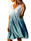 זול שמלות מקסי-צווארון V עד הברך דפוס, קולור בלוק - שמלה גזרת A בסיסי בגדי ריקוד נשים