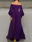 Χαμηλού Κόστους Βραδινά Φορέματα-Γραμμή Α Ώμοι Έξω Ουρά Σιφόν Μινιμαλιστική Επίσημο Βραδινό / Αργίες Φόρεμα 2020 με