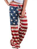 ราคาถูก กางเกงขากว้าง-สำหรับผู้หญิง พื้นฐาน ขากว้าง กางเกง - ลายแถบ ธงชาติอเมริกา ทับทิม L XL XXL