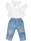 זול סטים של ביגוד לבנות-סט של בגדים שרוולים קצרים אחיד בסיסי בנות ילדים