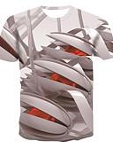 זול טישרטים לגופיות לגברים-3D צווארון עגול בסיסי / סגנון רחוב טישרט - בגדי ריקוד גברים דפוס אפור / שרוולים קצרים