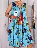ราคาถูก เดรสพลัสไซซ์-สำหรับผู้หญิง พื้นฐาน โบโฮ รูปตัว เอ แต่งตัว - ลายต่อ ลายพิมพ์, ลายดอกไม้ เหนือเข่า